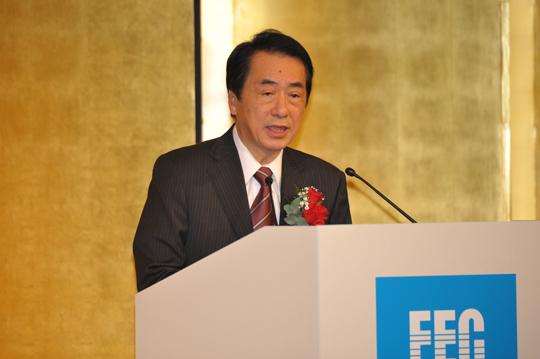 異例の外交演説を行なう菅内閣総理大臣