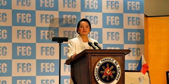 講演するグロリア・アロヨ フィリピン大統領=帝国ホテル・富士の間