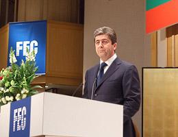 日本ブルガリア国交再開50周年祝賀会であいさつのパルヴァノフ大統領