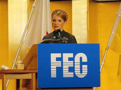 第117回FEC国際問題懇談会で講演のティモシェンコ・ウクライナ首相 (東京・帝国ホテル)